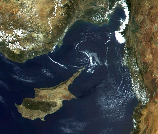 Cyprus, from a spy satellite